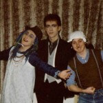 Chris, plus friends Paul and Iain, fancy dress, 18 or 19.
