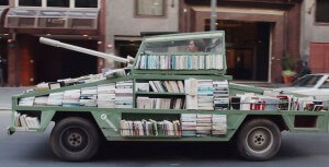 Raul Lemesoff's 'Weapon of Mass Instruction': a mobile library in the shape of a tank.