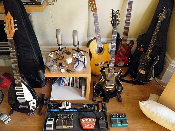 Some of Chris' guitars