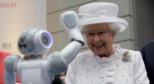 Her Majesty the Queen meets a NAO-25 humanoid robot